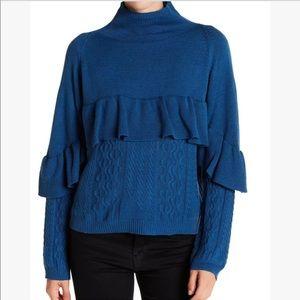Project Naadam NEW Blue Knit Turtleneck Sweater